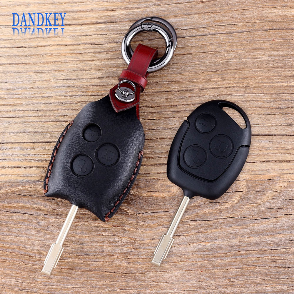 Dandkey Leather Car Key Case 3 Buttons Remote Key Shell Fob Car Key Cover For Ford Mondeo Focus Transit