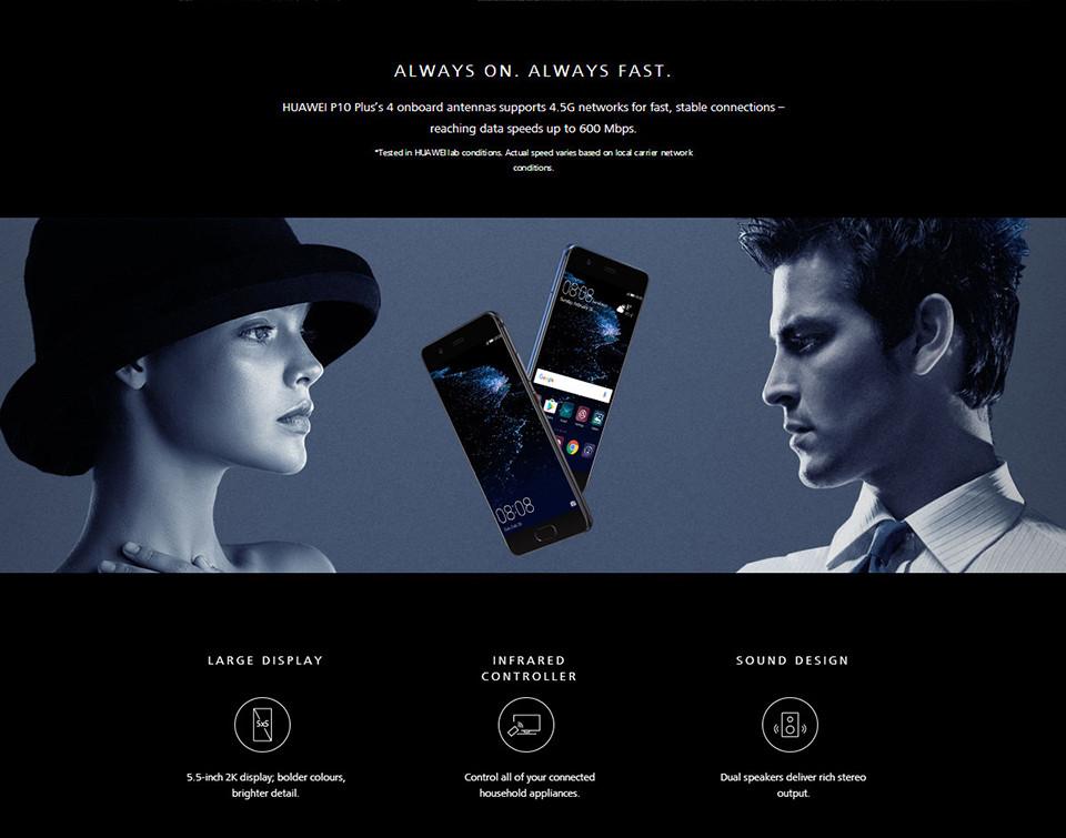 "Международная прошивка HuaWei P10 плюс 4G LTE сотовый телефон Kirin 960 Android 7,0 5,5 ""2 К 2560x1440 6 ГБ Оперативная память 256 ГБ Встроенная память 20.0MP NFC"