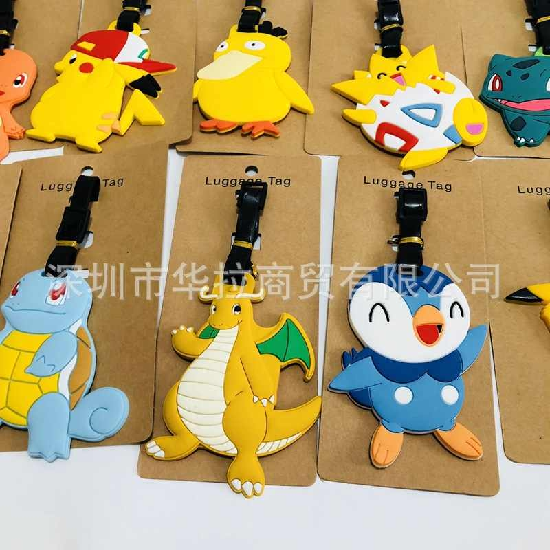 Anime cartoon Pokemon PVC key chain cos  Pikachu Bulbasaur Charmander animal novelty Travel luggage tag fashion men llavero 2018