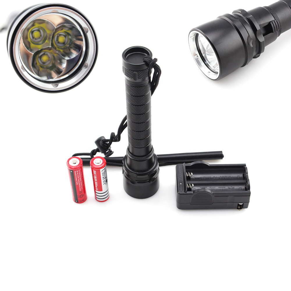 ФОТО 3 x XM-L T6 LED Diving Flashlight  200 meters Underwater Diving diver Lamp Waterproof Torch + Charger & 2X Batteries