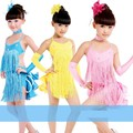 Criança do sexo feminino desempenho traje de dança latina saia paillette borla vestido de dança