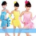Fast free shipping Child costume performance wear female child Latin dance skirt paillette modern dance dress tassel