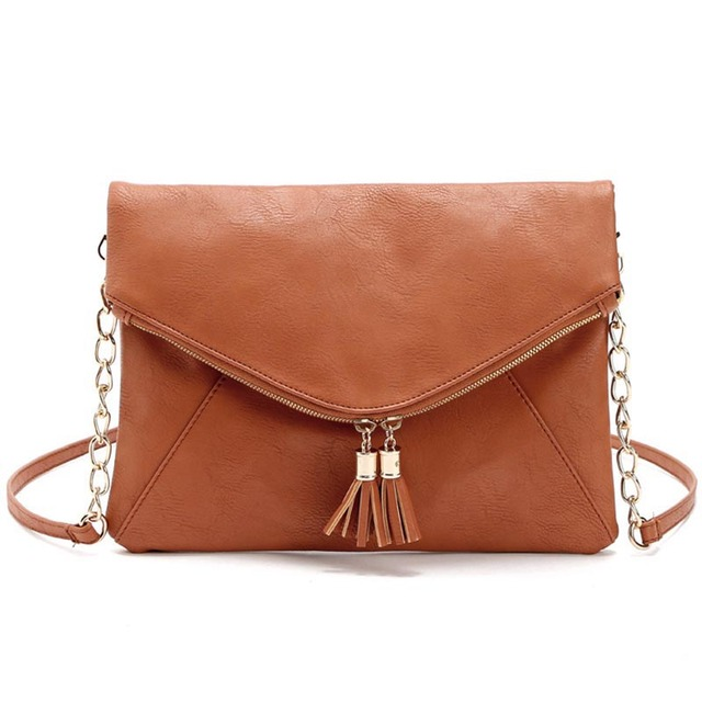 Hot Sale Fashion fold over Messenger Bag Tassel Leather Handbags Cross Body Shoulder Bags Women bag Bolsas femininas