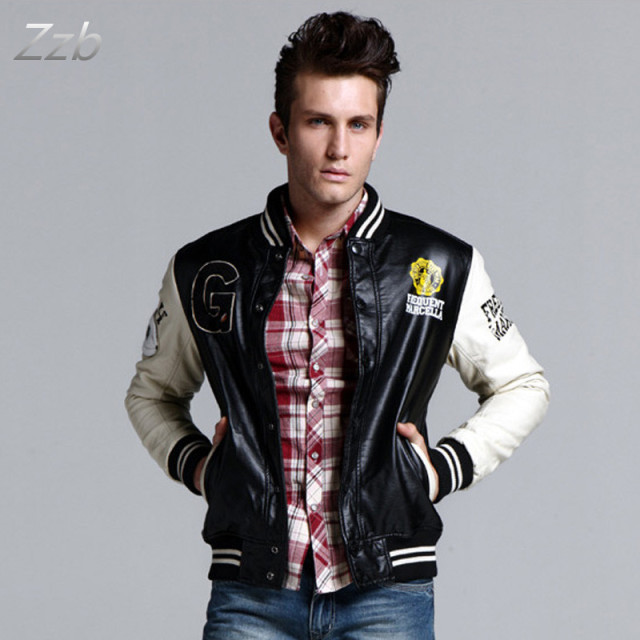 Modern 2017 autumn and winter thickening outerwear male leather jacket lovers baseball uniform jacket plus size baseball uniform