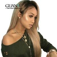 Guanyuhair Ombre 1B/27 человеческие волосы на кружеве парики 150% плотность медовый блонд 360 кружева спереди al парик предварительно сорвал бразильские