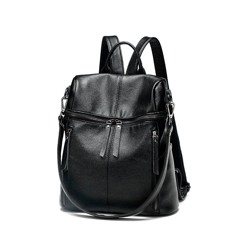 New arrival women black backpack genuine leather women bags designer casual real leather laptop backpack solid female trave C560 new arrival women genuine leather backpack young lady real leather backpack luxury female school bags with simple design e143
