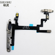 SHUOHU brand Power Button On Off Flex  with Cable For iPhone  5/5s  Mute Volume Switch Connector Ribbon Parts