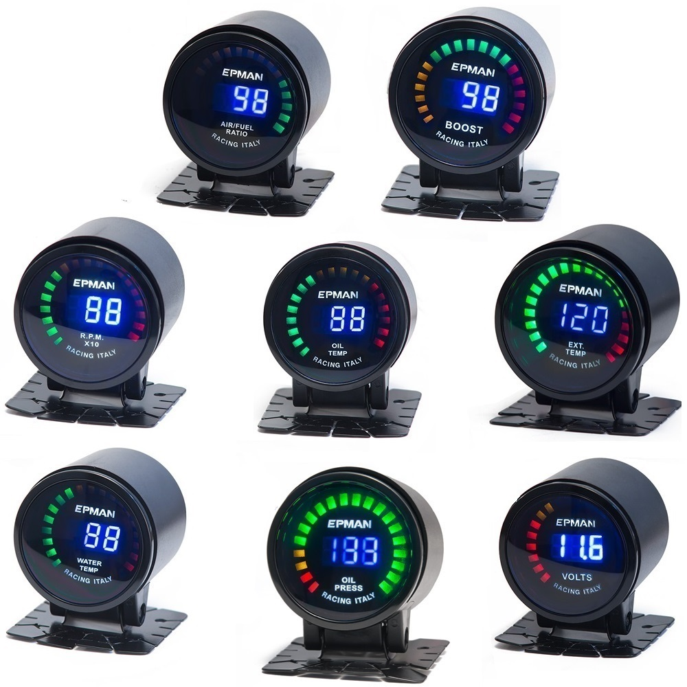 "Auto 2"" Digital LED EGT/Turbo Boost/Volt/ Water Temp/Oil Press/RPM/Air/Fuel/Oil Temp Gauge Meter With Sensor EP-GA50EXTT"