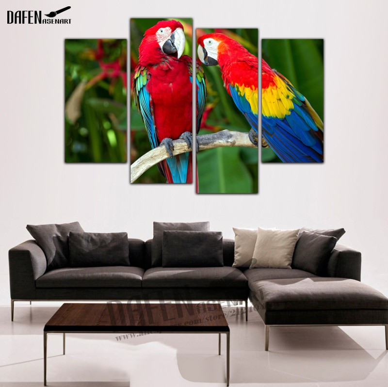 4 Pieces Modern Wall Art framed Canvas Prints Couple Parrot Paintings Bird Painting for Bedroom Wall Decoration-in Painting & Calligraphy from Home & ...