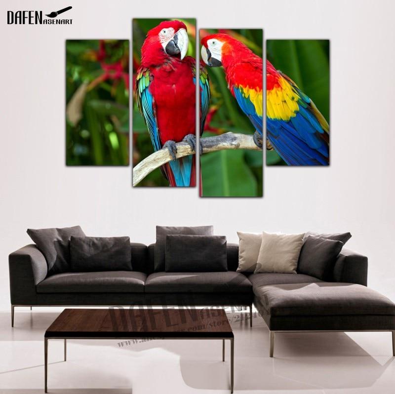 4 Pieces Modern Wall Art framed Canvas Prints Couple Parrot ...
