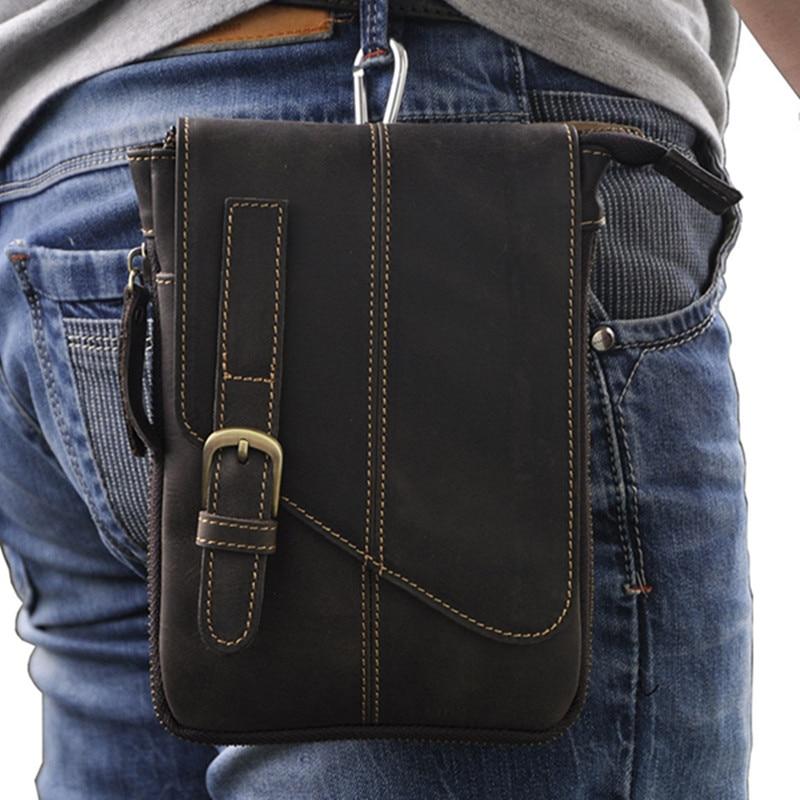 ФОТО Retro Crazy Horse Genuine Leather Dark brown Waist Bag Men Small Bag  Travel Casual Travel Shoulder Bags Belt Bag