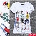 2017 mais recente camisa 3D impressão do decalque e ilustração de moda T-shirt de manga curta menina elástica