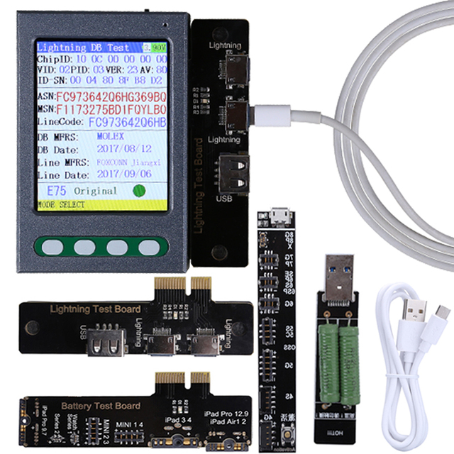 USB kablosu test cihazı pil test cihazı iPhone XS için XR XS Max X 8 8P 7 7P 6S 6 6S P 5 5S pil denetleyicisi veri kablosu test cihazı temizle döngüsü