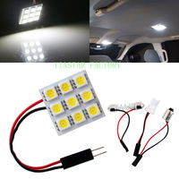 Yiastar 200Pcs/Lot 5050 9 SMD LED Panel Lights with T10 + Festoon Adapters Car Reading C5W Dome Lamps Auto Interior Lighting