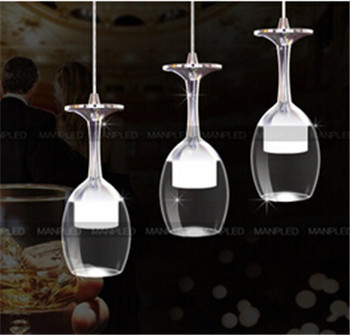free shipping modern Red Wine Goblet-design Led pendent lamp acrylic pendent light for dining room/living room 1/3head 1489 free shipping modern dining table designs discount lamp shades