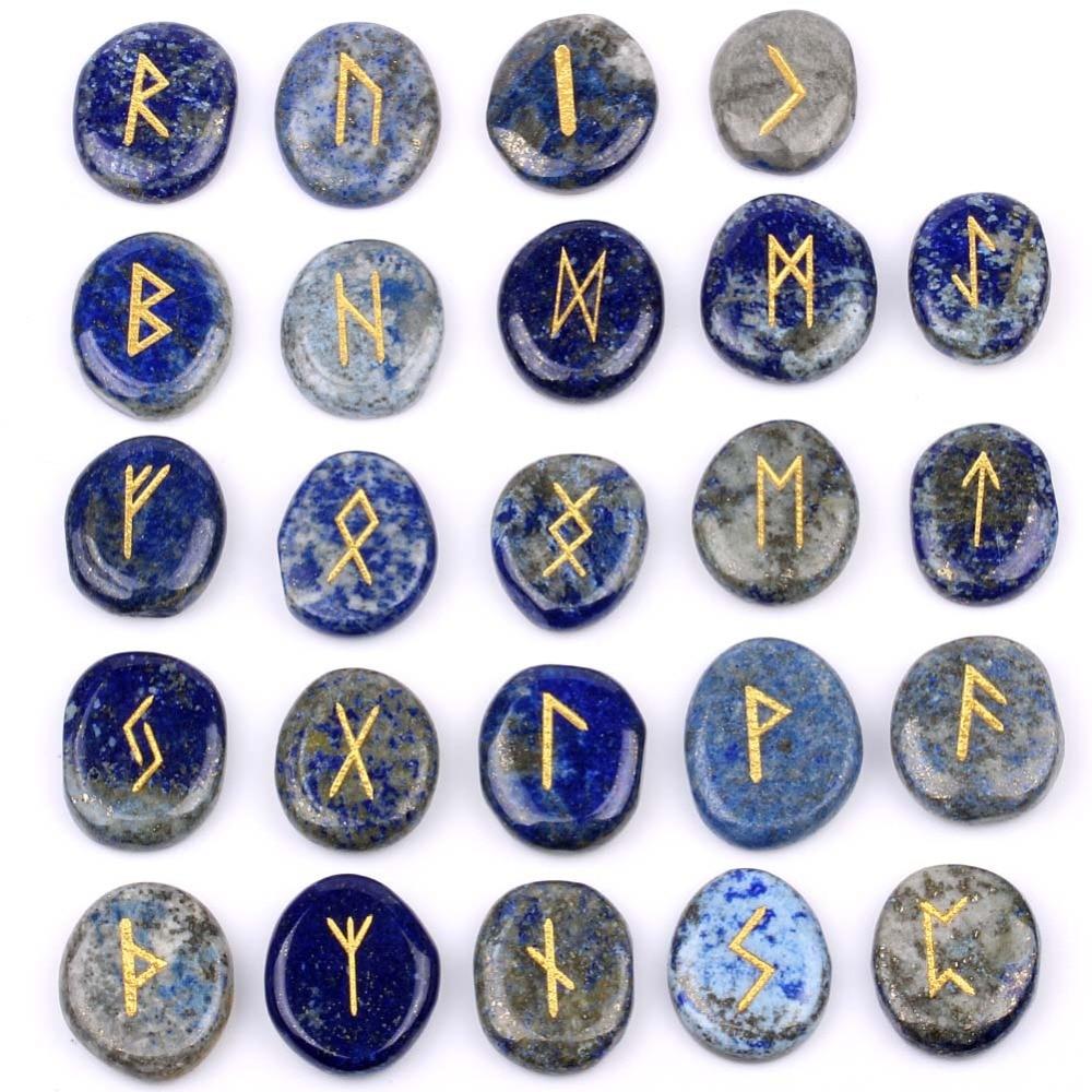 Natural Engraved Chakra Lapis Lazuli Rune Divination Stones Set