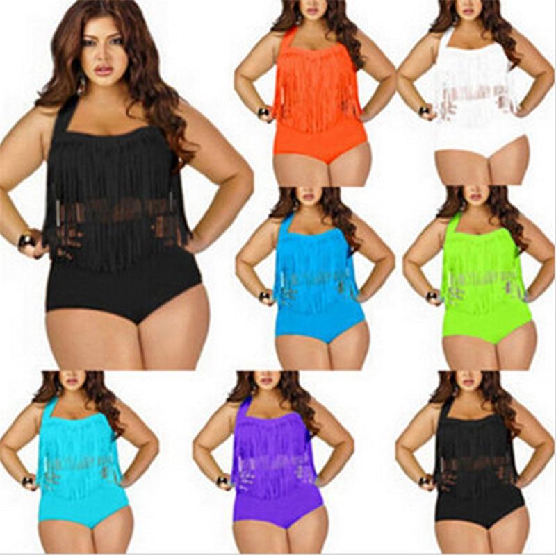 531ad421c9fd7 2017 PLUS SIZE Big and Beautiful Womens Retro Fringe Tassel Top High  Waisted Bikini Push Up Bandeau Rockabilly Swimwear Swimsuit