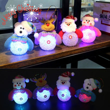 Christmas Snowman Lamp Light Xmas Gift Mini Table Cute Santa Claus LED Fiber Optic Nightlight Christmas Tree Decor For Home 2017(China)
