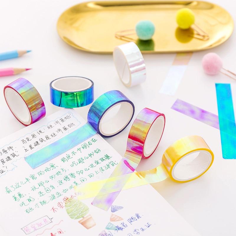 48 pcs/lot 1.5 cm Wide Cool Gradual Change Rainbow Decorative Colorful Tape DIY Scrapbooking Masking Tape School Office Supply
