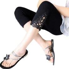 ФОТО new women leggings fashion summer legging spring girl cotton elastic triangle hollow pants cropped trousers leggins six colors