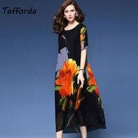 Tafforda 2019 Women's Summer Silk Dress Floral Printed Beach Dress Elegant Party High Quality Maxi Long Silk Dress Female M 3XL