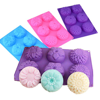 6 Holes Purple Flower Shaped Silicone Mold DIY