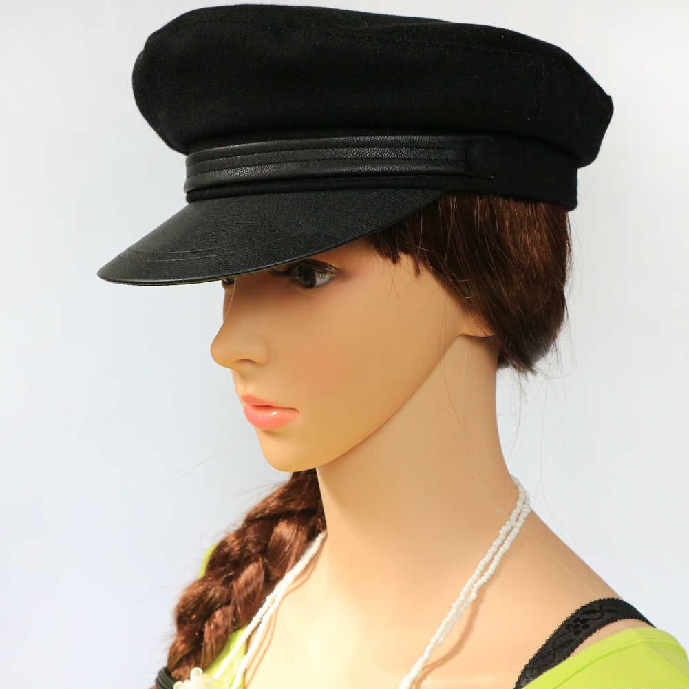 aaf2d5af5d6a1 ... Américain style de laine marine casquette militaire laine étudiant  chapeau 55 57 59 61 cm sailor ...