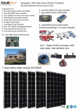 Boguang Solarparts 1x 1500W Solar Home off-grid tie systems solar kit by sea 250W Mono solar modules bracket controller DIY hous
