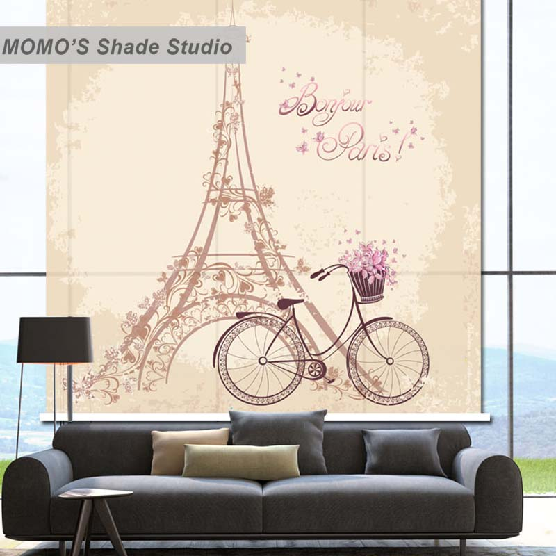 MOMO Blackout Eiffel Tower Window Curtains Roller Shades Blinds Thermal Insulated Fabric Custom Size, Alice 301-304