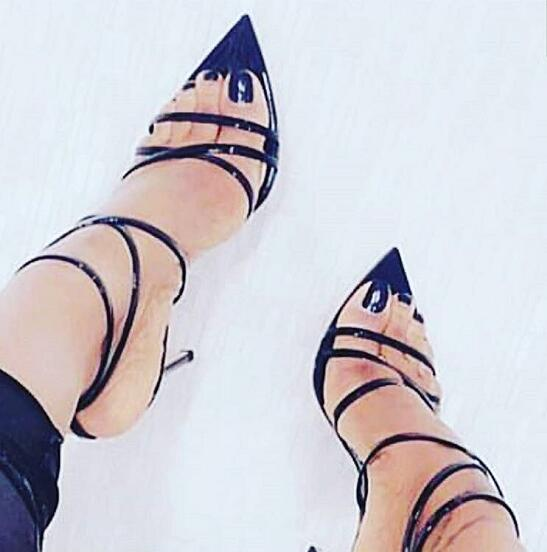 2018 Fashion Patent Leather Straps Women Super Pointy Toe High Heels Concise Style Ladies Sexy Summer Sandals Ankle Buckles Shoe trendy women s sandals with patent leather and buckles design