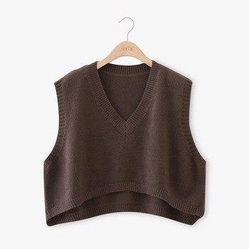 V Neck Cropped Sweater Vest Women Short Sleeveless Sweaters Fall 4