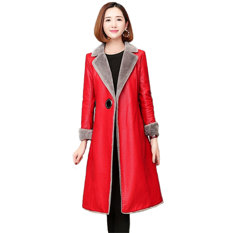 High quality Women Winter Flocking Warm Faux Sheepskin Leather Jackets Female Cashmere Long Coat Women Slim Outerwear Plus size