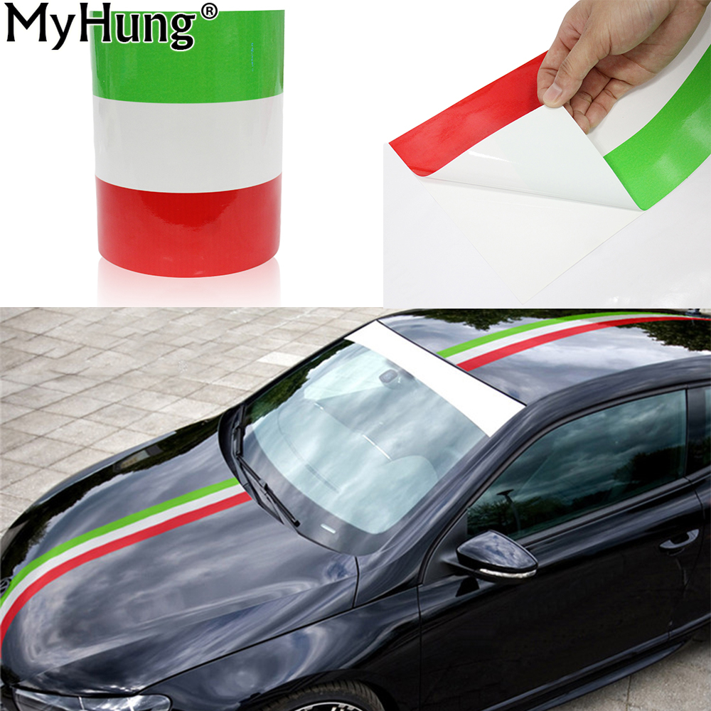 DIY Italy Flag Car Stickers Adhesive Vehicle PVC Wrap Body Sticker For Fiat 500 BMW Benz Mazda Ford Audi VW Car-Styling 1M 2M 3M