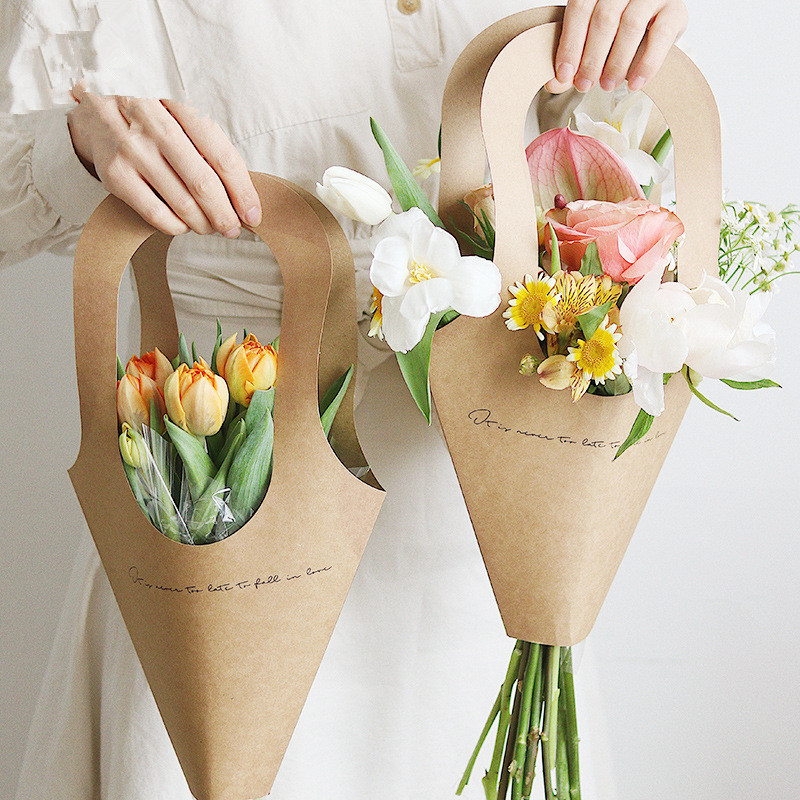 10pcs Creative Handle Kraft Paper Flower Bags Flowers Wrapping Gift Flower Packaging Home Decoration 9x31cm