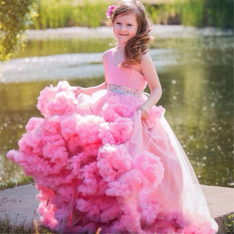 Pink 2019 Flower Girl Dresses For Weddings Ball Gown V-neck Tulle Ruffles Crystals Long First Communion Dresses For Little Girls