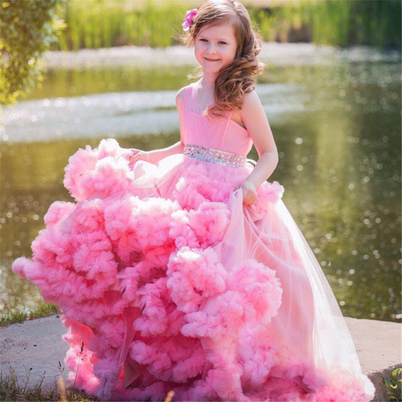 Pink 2019 Flower Girl Dresses For Weddings Ball Gown V-neck Tulle Ruffles Crystals Long First Communion Dresses For Little Girls