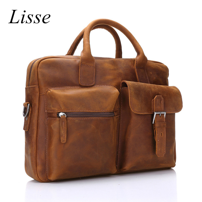 Men's Genuine Leather Briefcase Crazy Horse Satchel Bags For Men Fashion Large Capacity Business Laptop bag lapoe intage crazy horse genuine leather men handbags brand fashion men s business briefcase bag big capacity men laptop bag