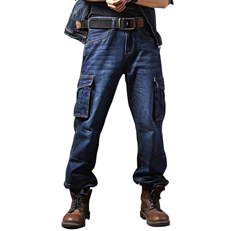 MORUANCLE мужские Повседневное брюки-карго джинсы брюки с несколькими карманами Тактический джинсовые брюки для Мужской спецодежды джинсы плю...