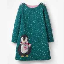 Jumping meters Brand Applique baby girls dresses autumn penguin kids dress girl long sleeve animals clothes unicorn