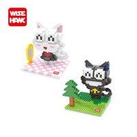 Conjunto completo 2 pcs sábio nano blocos divertido kawaii hello kitty kt gato plástico tijolos de construção diy mini modelo brinquedos educativos para as crianças.