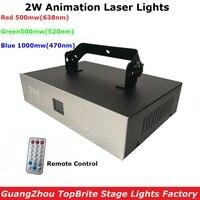 Бесплатная доставка Новые RGB Полный Colot ильда этап диджейские Лазерные Лампы Multi цвет 2 Вт анимация лазерные лучи с дистанционное управление