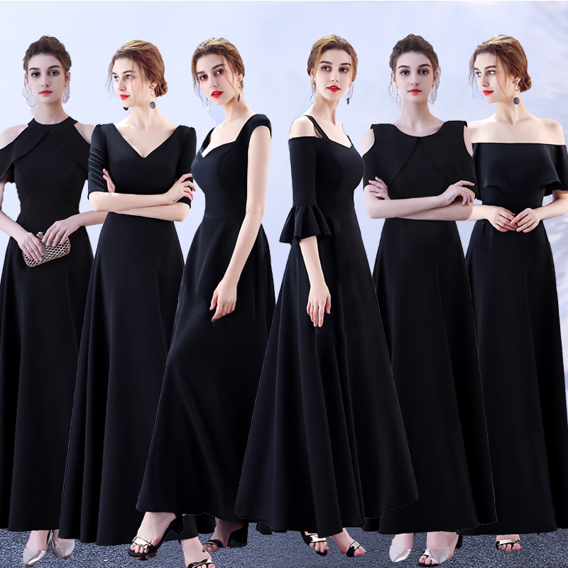 New Party Host Banquet   Dress   Long Paragraph Female   Dress   Black   Bridesmaid     Dresses   Short Creme Short Party   Dress   Elegant