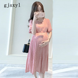 2b49ba6e242 gjsxyl 2018 new pregnant women pleated chiffon dress pink polka dots summer pregnant  women clothes loose