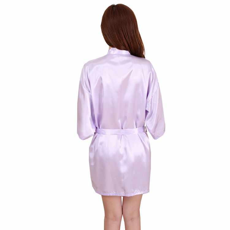 女性のシルクサテンショートナイトローブ固体着物ローブファッションバスローブセクシー浴衣ペニョワールファム結婚式花嫁介添人ローブ