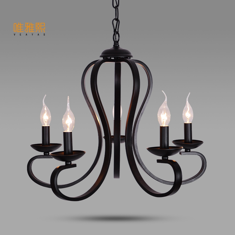luminaire led lights Fabric lampshade chandelier iron modern chandeliers indoor lighting fixture black chandelier