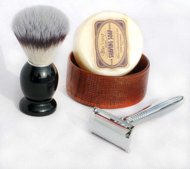 4 PCS  Men's Shaving Set Synthetic Hair Brush Stainless Steel Shave Razor Shaving Soap and Bowl