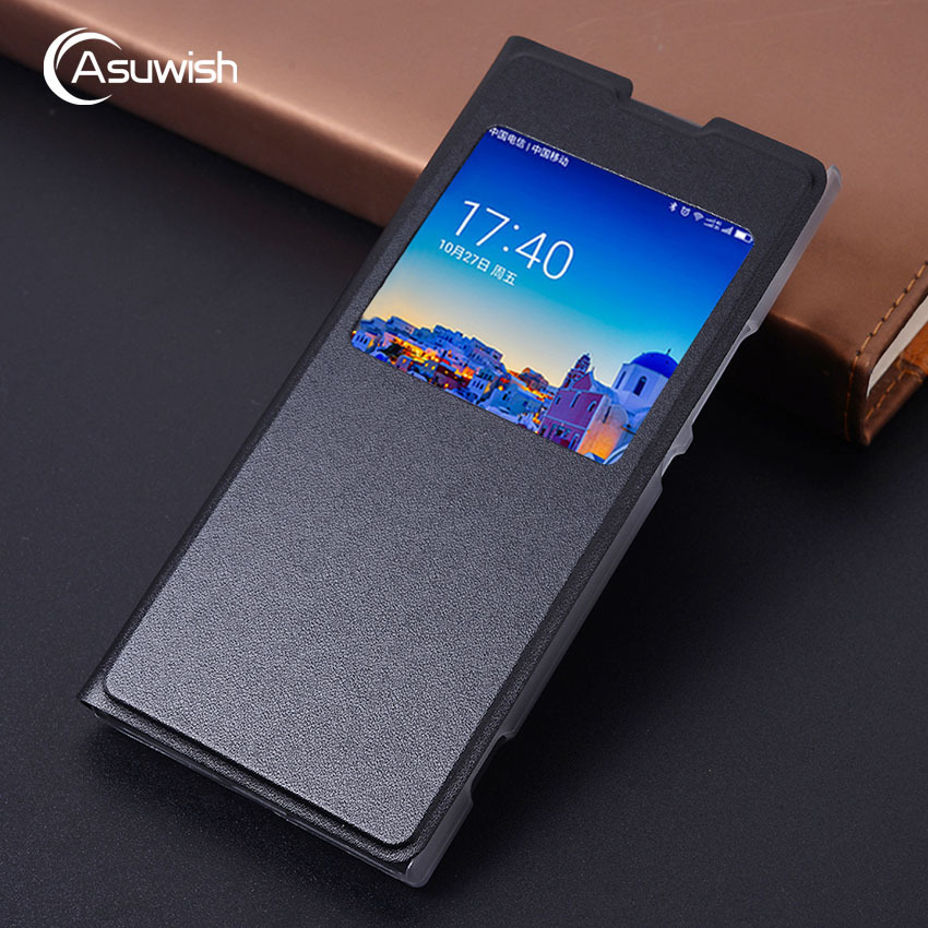 Asuwish Flip Cover Leather Phone Case For <font><b>Sony</b></font> Xperia XA1 Ultra XA 1 Dual L1 G3221 G3212 G3121 <font><b>G3112</b></font> G3311 G3312 Clear View Case image