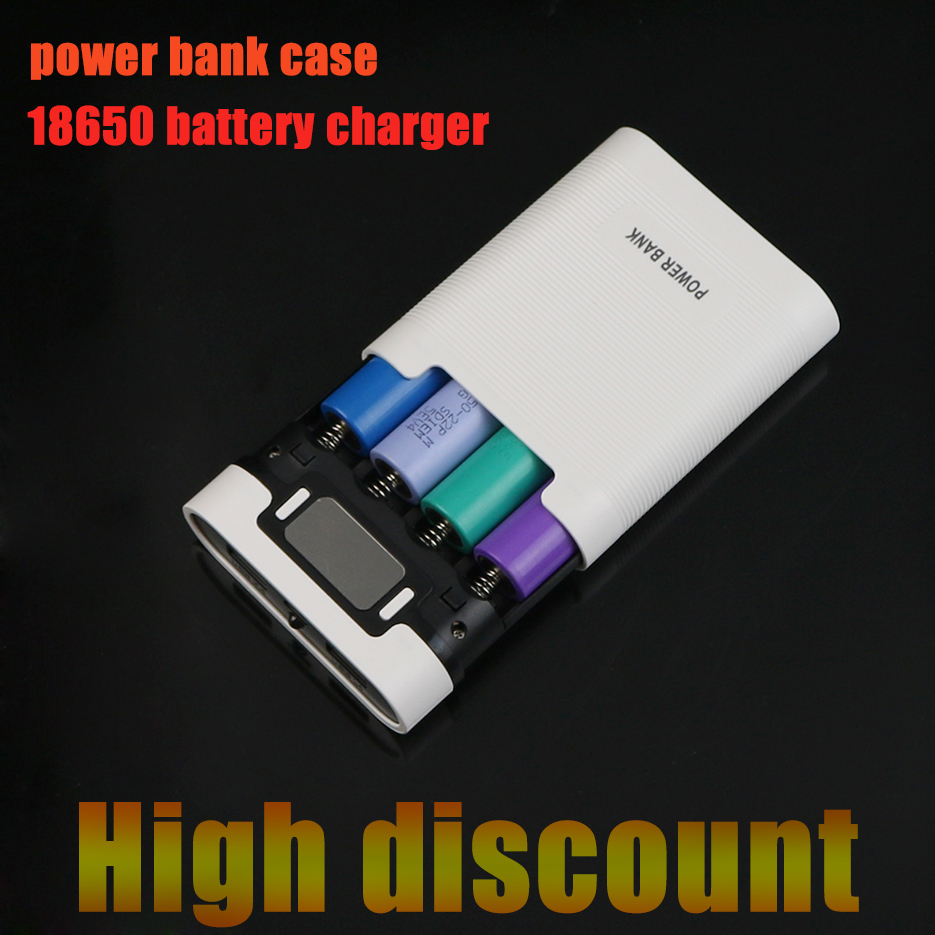 Evewher 18650 lion Batery 4 slots Rechargeable Charger Box With LED Light Power Bank Case For 18650 intelligent battery Charger