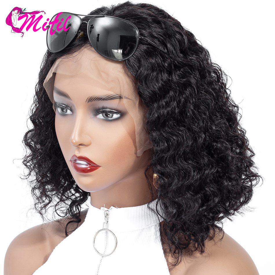 Mifil Bob Wigs Indian Lace Front Human Hair Wigs For Black Women Natural Color 13x4 Remy