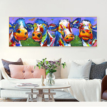 HDARTISAN Wall Art Decor Print Abstract Pictures Cute Cow Canvas Poster Print Home Decor Oil Painting for Living Room(China)